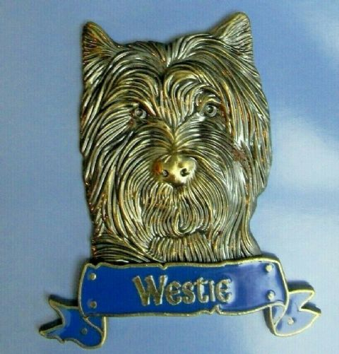 WESTIE MAGNET HEAVY DUTY METAL 3D ANTIQUE STYLE WEST HIGHLAND TERRIER DOG MAGNET